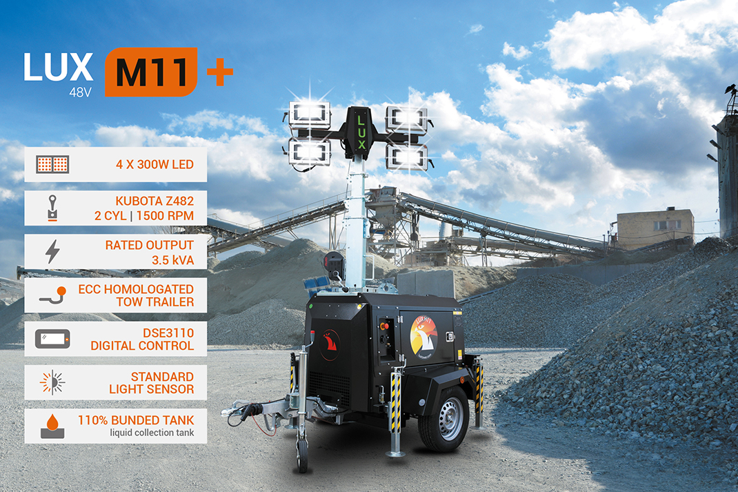 Luxtower light towers for civil and industrial construction, oil and gas and events